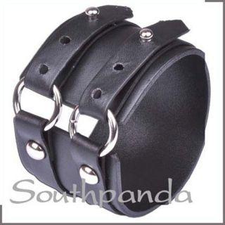 SW031 Black Rock Leather Wrap Cuff Bracelet Wristband