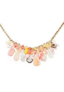 Lee Angel Dakota Necklace Coral Acrylic Bauble Bib Cluster Necklace $