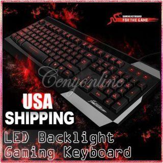 Red LED Backlight Backlit USB Multimedia Illuminated Game Gaming