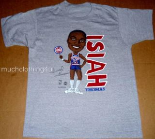 Vtg Isiah Thomas Detroit Pistons Shirt NBA Basketball 80s Caricature M