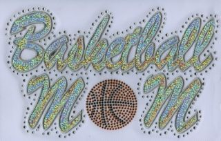 Iron On Transfer Applique Rhinestone and Silver Sequin Basketball Mom