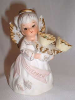 Lefton Exclusives Japan November Angel Bisque Porcelain Figurine