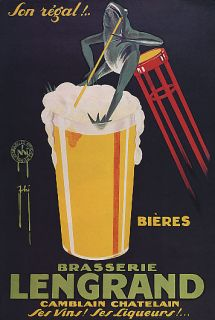 LEGRAND FROG DRINKING GLASS BEER BEVERAGE ALCOHOL VINTAGE POSTER REPRO