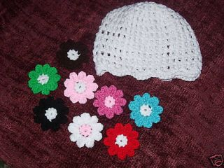 Boutique Crocheted Beanie Hat with 8 Flower Clips