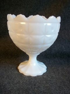 Vintage Napco Milk Glass Quilted Dots Pedestal Compote Vase Crimped