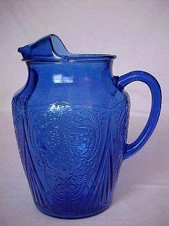 Cobalt Blue Royal Lace Large Pitcher w Ice Lip 96 oz as Is