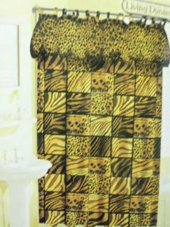New Leopard Zebra Animal Print Fabric Shower Curtain Liner and Hooks