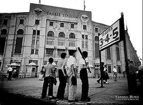 Yankee Boys vintage stadium baseball print black white New York