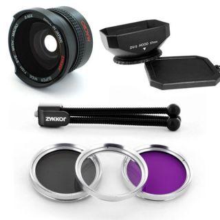 Wide Angle Lens 42X Filter Kit Hood for Canon VIXIA HF11 HG20 HF100