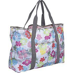 LeSportsac Large Beach Tote Bag TROPICS Hawaii Floral Tropical