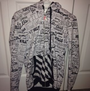 Glamour Kills Scribble Bubble Letters Writing Hoodie Medium M OOP RARE