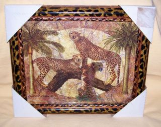 LEOPARDS Framed Glass African Interior Decor LEOPARD Safari Jungle
