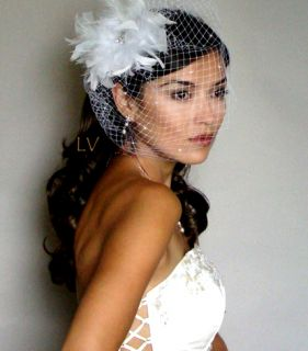 WHITE Birdcage RHINESTONE VEIL RHINESTONE FEATHER Hair Fascinator Clip