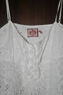 Juicy Couture White Linen Lace Spaghetti Strap Tank Top Size Large
