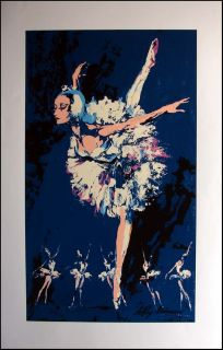 Leroy Neiman Prima Ballerina Blue Dancer Plate Signed Serigrpah Print