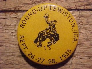 Lewiston Idaho Round Up Rodeo Pinback Button 1935