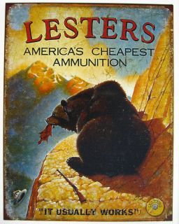 Lesters Ammo Funny Bear Hunting Tin Sign Bar Garage Lesters Metal