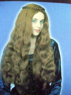Auburn Red Long Wavy Renaissance Flow Wig Braided Crown One Size Fiona
