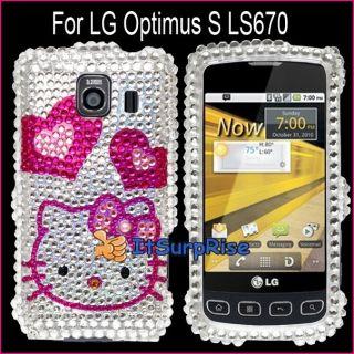 Bling Diamond Hearts Kitty Full Hard Case Cover for LG Optimus s LS670
