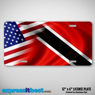 License Plate with Flag of USA and Trinidad and Tobago American TT