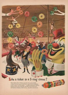 Like A Ticket to A 5 Ring Circus Life Savers Candy Print Ad