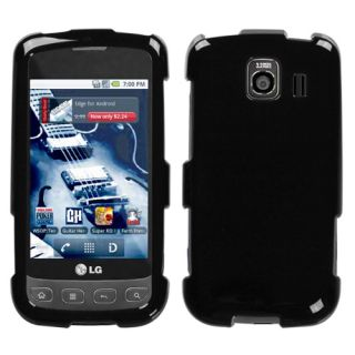 LG Optimus s U V LS670 Hard Case Snap on Cover Black Solid Glossy