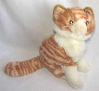 Orange Tabby Kitty Cat Life Like Size Plush Stuffed Animal Toy