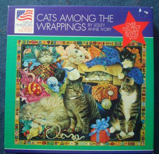 jigsaw puzzle Lesley Anne Ivory 550 pcs CATS AMONG THE WRAPPINGS 18x24