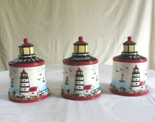 Light House 3 Piece Storage Canister Set Hand Painted Fine Ceramicware