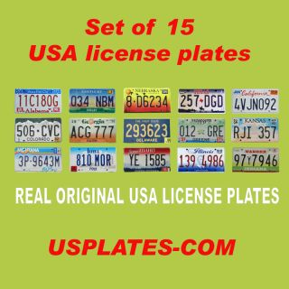 15 USA License Plates Set United States Number Tag Lot Real Best