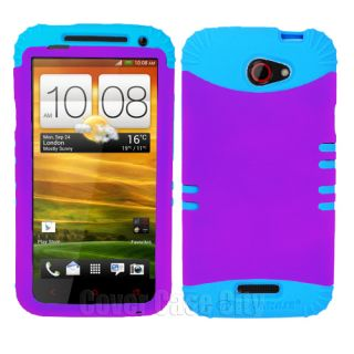 Light Blue Skin Cover with Purple Hybrid Hard Case for HTC One X S720e