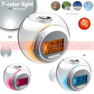 Color LED Light Alarm Clock with Nature Sound Timer Thermometer