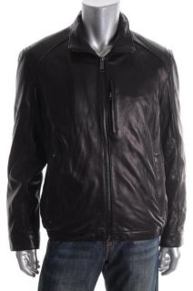 Andrew Marc NEW Lewis Black Full Zip Long Sleeve Lined Leather Jacket