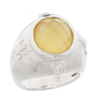 QVC Seidengang Sterling Silver Round Limon Quartz Ring 8 Best Selling