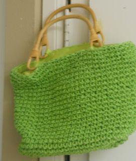 Woven Lime Green Raffia Straw Summer Bag Purse Bag Wooden Handles