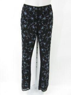 Laundry Black Blue Floral Print Beaded Pants Slacks 10