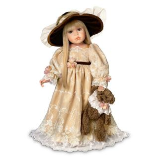 Linda Rick Catherine Victorian Style Child Doll with Dressed Teddy