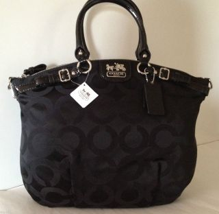 NEW COACH Madison Op Art Sateen LINDSEY BLACK 18649 Satchel Tote Purse