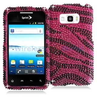 Pink Zebra Bling Rhinestone Hard Case Cover for LG Optimus Elite LS696