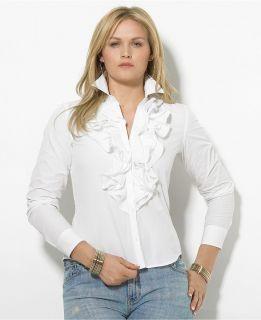 Ralph Lauren Women White Top Blouse Shirt MSRP $79 50 Size L