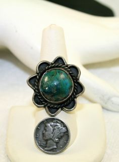 Vintage Gorgeous Navajo Moss Agate Turquoise Green Sterling Silver