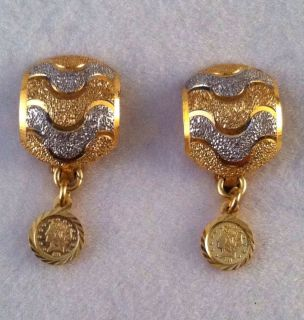 18K Yellow White Gold Dangle Earrings 22K 1899 $5 Liberty Coin Replica