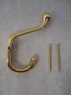 20 Liberty Hardware 3 Heavy Duty Coat Hat Hook Hanger Brass Plated