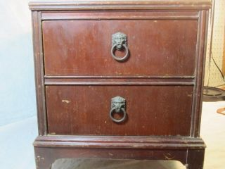 End Table or Night Stand w Drawers Lion Head Drawer Pulls