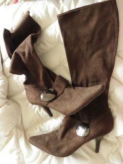 BCBGirls Brown Suede Type Knee High Heeled Boots Sz 8 5 Pointy Toe