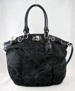 COACH Madison Op Art Sateen LINDSEY BLACK 18649 Satchel Tote Purse 358