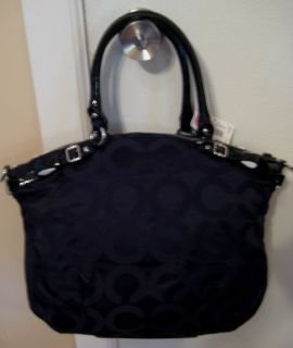 Coach Lindsey Madison Black Op Art Sateen Patent Trim Satchel Bag
