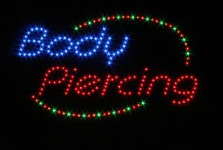 New Animated Body Piercing Shop LED Light Neon Sign
