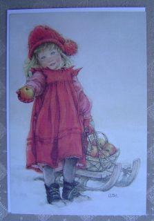 Lisi Martin Vintage Christmas Card Sweden 1984 Apple Girl Sled