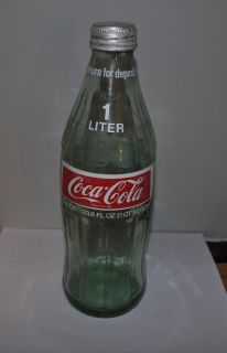 Vintage Green Glass 1 Liter Coca Cola Bottle 33 8 oz Coke Bottle RARE